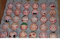 draw funny faces on eggs
