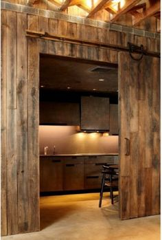 Using a barn style door indoors looks great and is practical where swing doors won't comfortalby fit.  Love it!