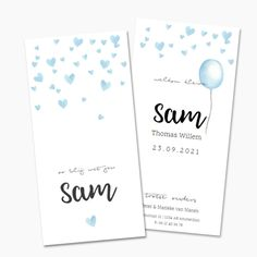 Trendy geboortekaartje met blauwe waterverf hartjes en achterop een blauwe ballon. Lief geboortekaartje voor een jongen.