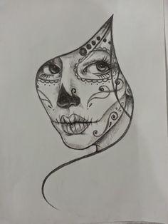 black and white sugar skull girl tattoo - Google Search