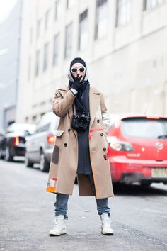 Street Style: Young Jun Koo, NY. RAF SIMONS Coat /RICK OWENS Shoes /Number(N)ine Sunglasses | Fashionsnap.com
