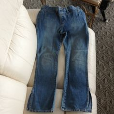 REDUCED!!! Abercrombie jeans Side slits at bottom, low rise.  Worn twice. Abercrombie & Fitch Jeans