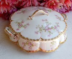 Antique Haviland Limoges Porcelain Covered Serving Bowl Pink Floral Double Gold | eBay
