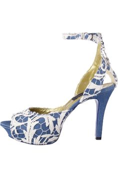 DRESSCAMP blue with white lace ankle strap heel