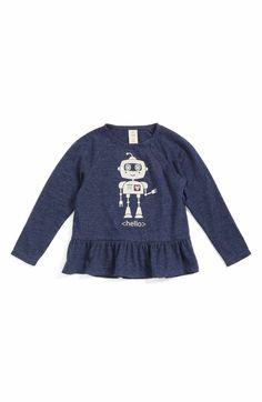 Main Image - Tucker + Tate Robot Graphic Peplum Tee (Baby Girls)