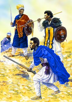 Abyssinian commander with his warriors during the colonial wars of 1868 African Tribes, African Diaspora, African Culture, African History, History Of Ethiopia, Tribal Warrior, Warrior King, Black Comics, African Royalty