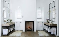 Amazing sinks and a fireplace