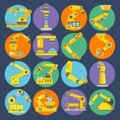 Robotic arm remote control device machine equipment flat icons set isolated vector illustration