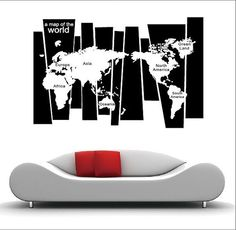 World Map Decal for Home Retail or Office by LovelyHomeDecals