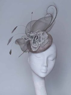 Grey Silver Fascinator Headpiece by CoggMillinery on Etsy