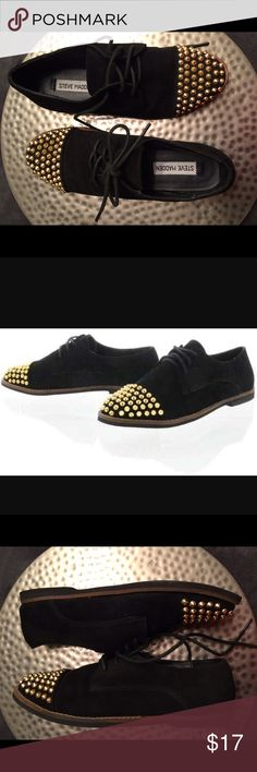 Steve Madden Jazzhan Oxfords. These oxfords are decorated with gold studs which serve as the perfect addition to any outfit. They have been gently worn, no spikes are missing and they are in fair condition. Steve Madden Shoes Flats & Loafers