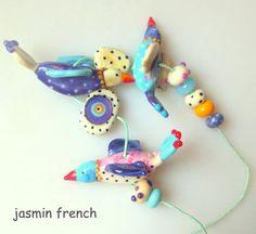 Jasmin Französisch 'Laune Birds' Lampwork fokale von jasminfrench