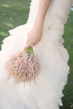 pink astilbe bouquet = casual take on tradition. Feel Provencal to me.