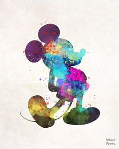 Mickey Mouse watercolor painting