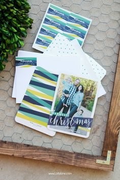 Make statement this year with Christmas cards styled along with coordinating address labels, envelope liners and your favorite family photo.