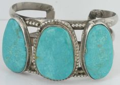 Buy Vintage Native American Sterling Silver Large Pretty Turquoise Cuff with Unique Design 011 by bluebisbee. Explore more products on http://bluebisbee.etsy.com