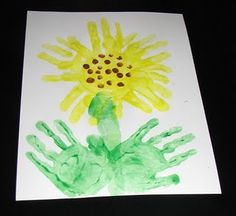 Daily Sunflower, August 8, 2013: Handprint and Footprint Art : Handprint Sunflower Crafts {Round Up}. More handprint sunflower craft ideas especially for preschoolers ~ just in time for iCreate's table at the Sunflower Festival