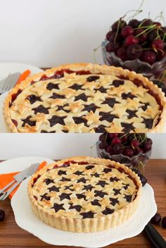 This Cherry Pie uses a sweet homemade cherry filling made with beautiful fresh cherries baked in between two buttery, flaky pie crusts. A surprisingly easy Cherry Pie Recipe With Frozen Cherries, Canned Cherry Pie Recipe, Tart Cherry Pies, Homemade Cherry Pies, Cherry Recipes, Homemade Pie, Easy Pie Recipes, How To Make Pie, Pie Crusts
