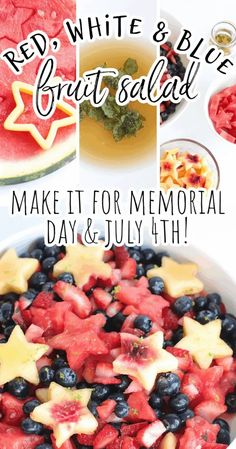 This simple and easy red, white, and blue fruit salad with honey lime dressing is the best recipe for your summer holiday parties and picnics from Memorial Day and July 4th to Labor Day and even Flag Day. The star shaped peaches and watermelons are sure to be showstoppers at every meal! Gluten Free Cooking, Cooking Recipes, Honey Lime Dressing, How To Make Salad, Food To Make, Blue Fruits, Healthy Dishes, Healthy Recipes, Picnic Side Dishes