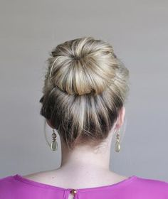 "How to Make a Fancy Bun. *Roll under sections & pin. ""Real Simple""."