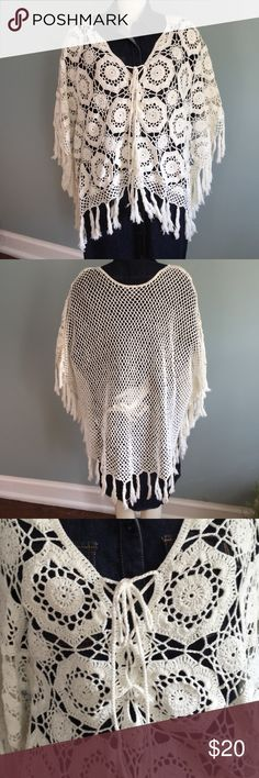Cream Crochet Poncho Worn once, this crocheted poncho is really cute over jeans or shorts. Lightweight, 100% cotton. Rue 21 Sweaters Shrugs & Ponchos