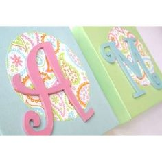 Monogram name on a canvas with scrapbook paper