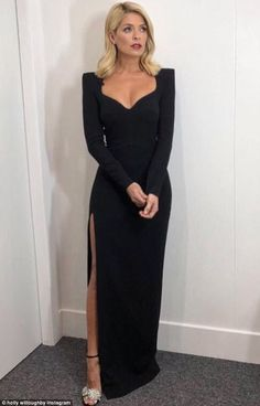 Wow: Holly Willoughby was bringing it back to basics on Sunday night for the second installment of Dancing On Ice, donning a classic and elegant black gown to co-host the live show with pal Phillip Schofield Black Tie Wedding Guest Dress, Black Tie Wedding Guests, Black Tie Gown, Black Tie Dress Code, Wedding Guest Gowns, Black Tie Dresses, Wedding Dress, Holly Willoughby Outfits, Holly Willoughby Style
