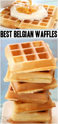 Simply the BEST Belgian Waffle recipe EVER. 4 Tips for PERFECT WAFFLES every time! Crispy Belgian waffles with great flavor & deep grooves, ready for butter & syrup! Best Belgian Waffle Recipe, Best Waffle Recipe, Waffle Maker Recipes, Easy Crispy Waffle Recipe, Overnight Belgian Waffle Recipe, Waffle Recipe Yeast, Recipe For Waffles, Simple Waffle Recipe, Yummy Waffles