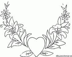 Dibujo de un corazón con muchas flores   Dibujos para Colorear