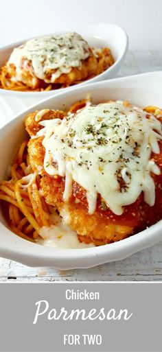 Chicken Parmesan Recipe for Two - is the best recipe, easy and quick too. The chicken is coated in breadcrumbs and Parmesan cheese, then fried crispy and golden brown, served in individual dishes on top of spaghetti and smothered in extra sauce and melted Mozzarella and Parmesan cheese. This is one our all time favorite go-to dinners and is perfect for date night dinner or weekend lunch.
