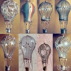 "DIY Light Bulb ""Hot Air Baloons"" Hang from anywhere. Could be decorated with puff-paint, wire, and a thimble..."