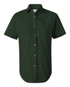 Deep Forest Ladies Short Sleeve Stain-Resistant Tapered Twill Shirt From FeatherLite - 5281