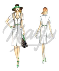 Our Patterns :: Marfy Collection 2015/2016 :: Sewing Pattern Blouse with rounded lapels, short sleeves with V split, belt at waist, and pocket flaps over inset pockets. Suggested fabric: two-tone or printed fabric.3688 -