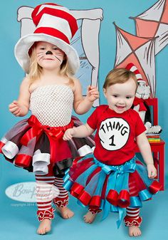 Cat in the Hat and Thing 1 tutu costume Halloween sibling costumes Matching 1st halloween ribbon trim tutu toddler girl baby Girl Curly tutu on Etsy, $128.00