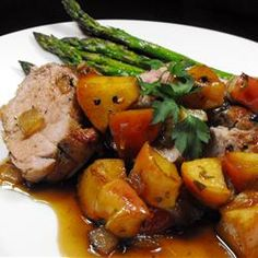 Apple Glazed Pork Tenderloin Allrecipes.com    Who doesn' just LOVE Pork Chops and Applesauce!!