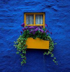 blue wall and window in Kinsale, Ireland