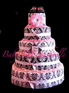 Diaper Cake for Girls Pink and Brown Damask Diaper Cake  5 Tier Baby Shower Centerpiece. $280.00, via Etsy.