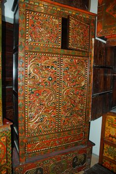 Hand carved and painted pine wood cabinet from Tibet, China