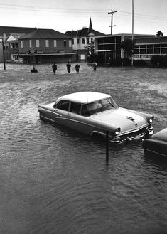 Aftermath of Hurricane Carla, Galveston, Texas, 1961. I lived in Pasadena and Carla's winds and rains made it that far inland. I remember my parents putting masking tape on all the windows in our home.I remember the streets looked like this and we all played in it.
