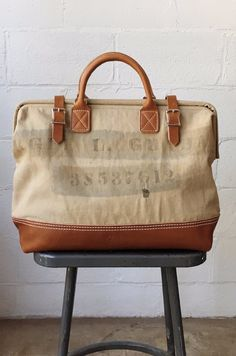 WWII era Salvaged Canvas Carryall Cow Hide, Cotton Canvas, Wwii, Leather Boots, Shoulder Strap, Satchel, Camera Bags, Beige, Messenger Bags