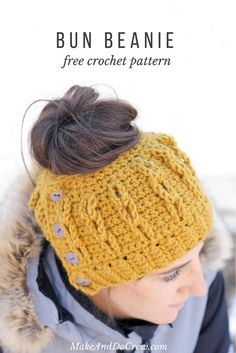 Crochet Bun Beanie with Faux Cables - Free Pattern and Video Tutorial! 482b4b746123