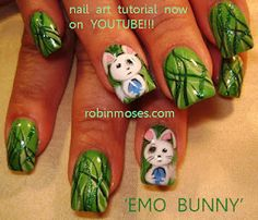 cute and sad bunnies on green grass nail art nails  www.youtube.com/watch?v=ntykOuRGBlw