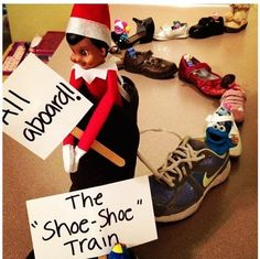 - Elf on the Shelf says All Aboard. - Crafting By Holiday Shoe-shoe train! - Elf on the Shelf says All Aboard. - Crafting By Holiday Christmas Elf, Christmas Humor, Awesome Elf On The Shelf Ideas, Funny Christmas Photos, Elf Auf Dem Regal, Elf On The Self, Christmas Preparation, An Elf, Top 5