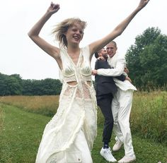 the crazy bride,Hanne Gabby! thanks to Alexander wang for the top and pants! White but a touch of crazy