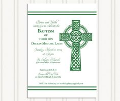 Celtic Baptism Invitation Christening by GingerSnapsOriginal Communion Invitations, Christening Invitations, Christening Gifts, Photo
