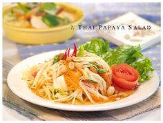 Green papaya salad is a spicy salad made from shredded unripe papaya. Locally known in Laos as tam som (Lao: ຕໍາສົ້ມ) in Thailand as som tam (Thai: ส้มตำ,