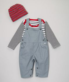 Take a look at this Gray Snap Overalls Set - Infant & Toddler by Sweet Charlotte on #zulily today!