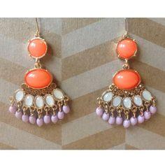 🎉  S A L E  🎉   Fan Drop Earrings Gorgeous dangle fan styled earrings with gem and bead detailing. Gold hardware, never worn. Jewelry Earrings