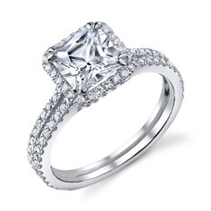Love the rounded square halo and double prongs on the diamond,they look like hearts and would be nice in rose gold.  Don't like the double band. Would be nice with rose gold detail when u look at the side.   (Marlene Princess Cut Halo Ring With Split Shank (.79 ctw.)- Love this -want!)