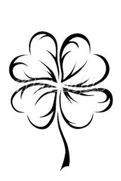 4 leaf clover in tribal style Stock Photos